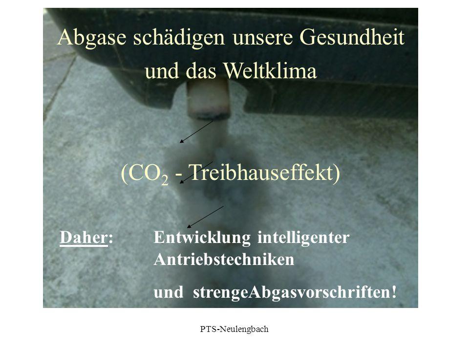 Abgase schädigen unsere Gesundheit und das Weltklima (CO 2 - Treibhauseffekt) Daher: Entwicklung intelligenter Antriebstechniken und strengeAbgasvorsc