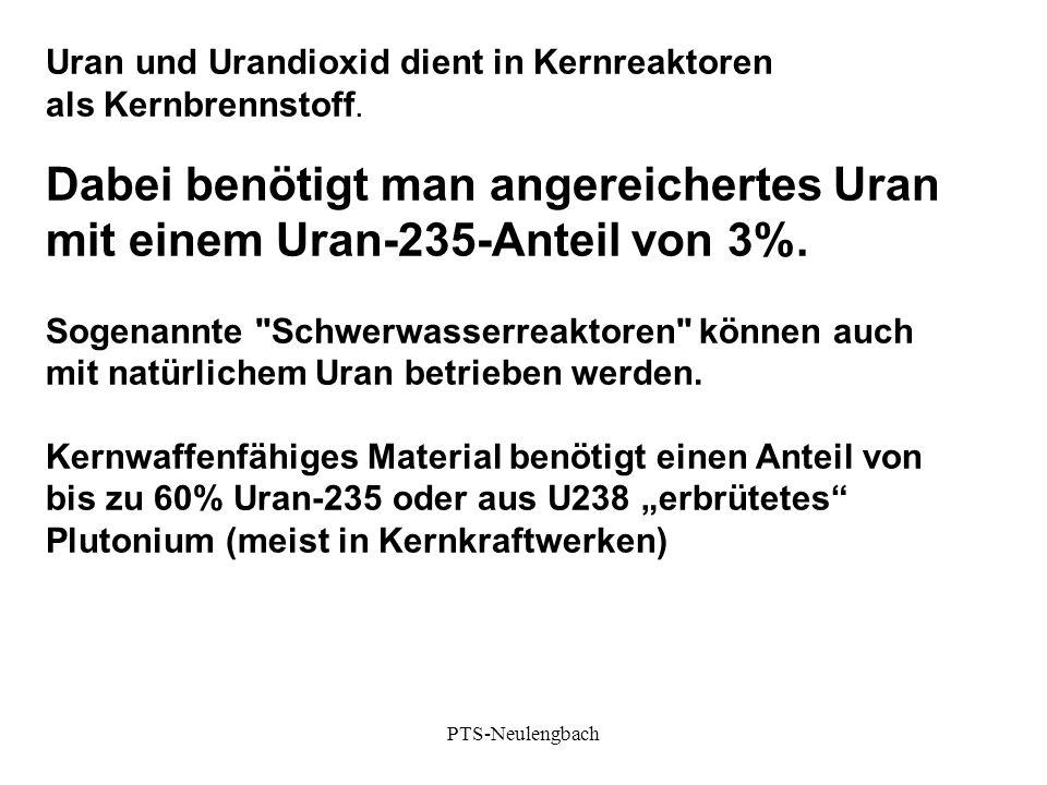 Uran und Urandioxid dient in Kernreaktoren als Kernbrennstoff. Dabei benötigt man angereichertes Uran mit einem Uran-235-Anteil von 3%. Sogenannte