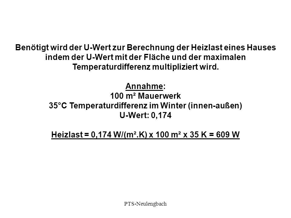 Benötigt wird der U-Wert zur Berechnung der Heizlast eines Hauses indem der U-Wert mit der Fläche und der maximalen Temperaturdifferenz multipliziert