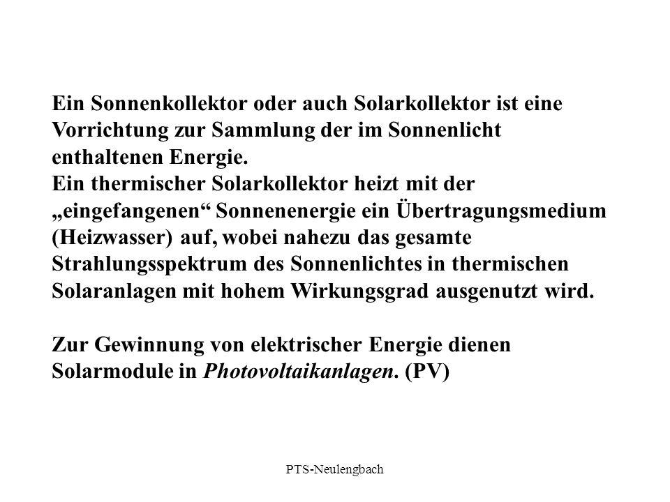 Ein Sonnenkollektor oder auch Solarkollektor ist eine Vorrichtung zur Sammlung der im Sonnenlicht enthaltenen Energie. Ein thermischer Solarkollektor