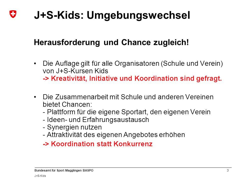 3 Bundesamt für Sport Magglingen BASPO J+S-Kids J+S-Kids: Umgebungswechsel Herausforderung und Chance zugleich! Die Auflage gilt für alle Organisatore