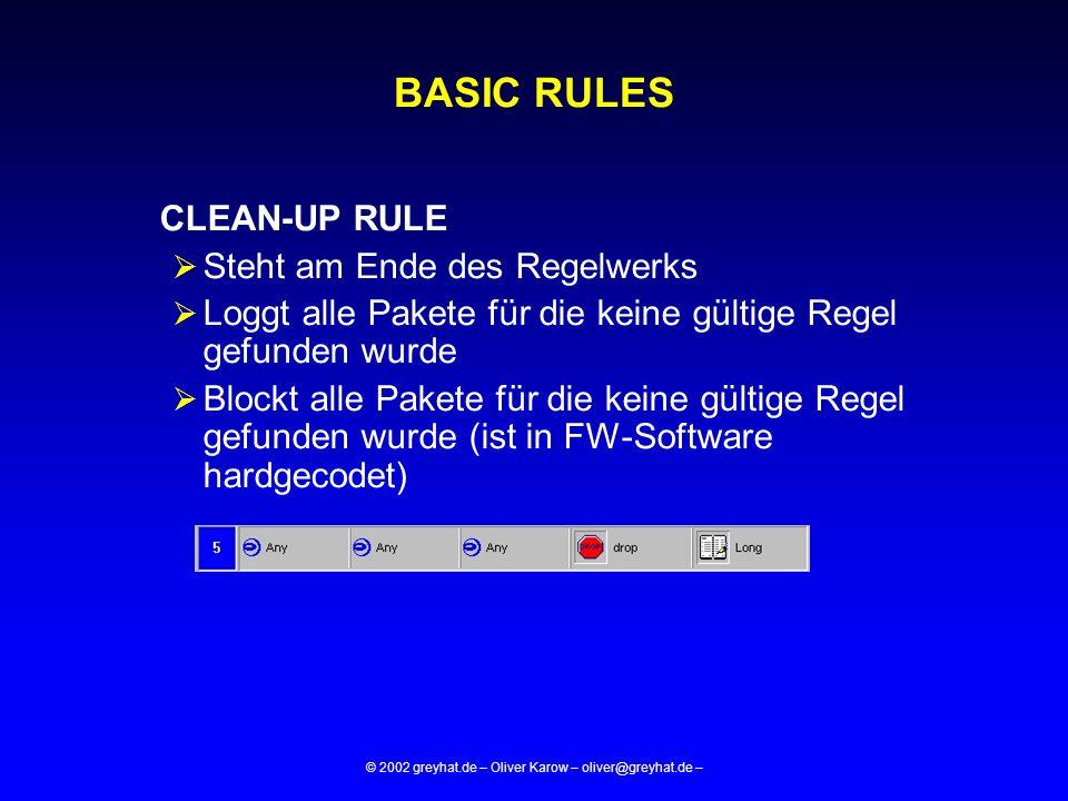 © 2002 greyhat.de – Oliver Karow – oliver@greyhat.de – BASIC RULES CLEAN-UP RULE  Steht am Ende des Regelwerks  Loggt alle Pakete für die keine gült