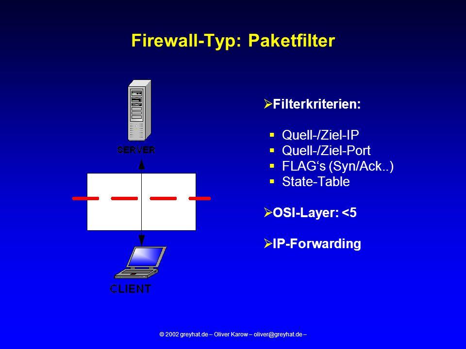© 2002 greyhat.de – Oliver Karow – oliver@greyhat.de – Firewall-Typ: Proxy  Filterkriterien:  Siehe Paketfilter  Features der Proxysoftware -FTP-PUT/GET...