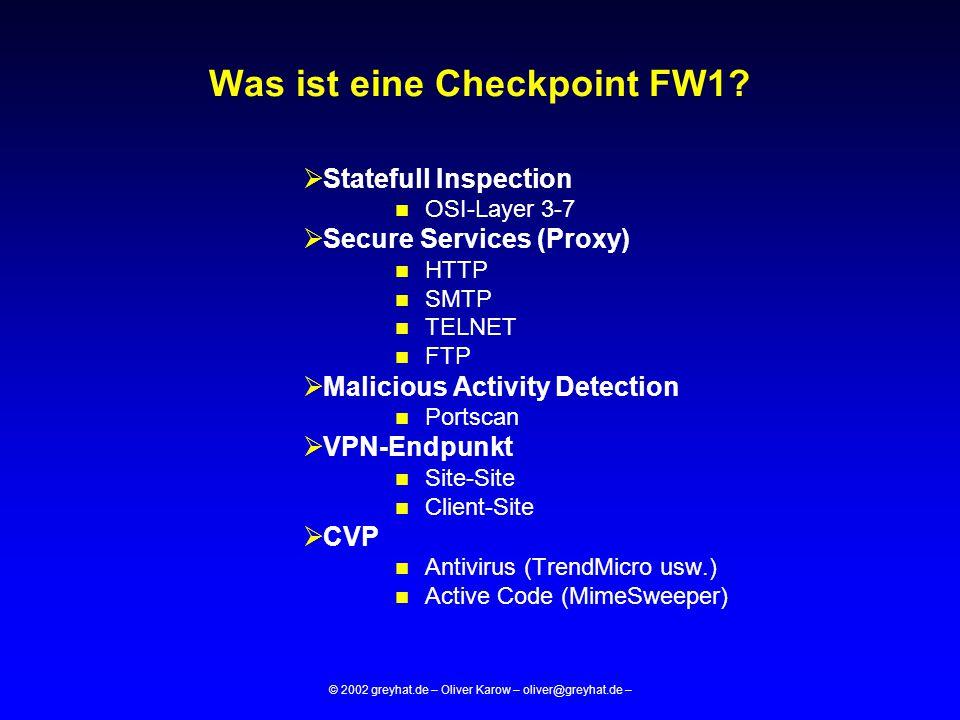 © 2002 greyhat.de – Oliver Karow – oliver@greyhat.de – Checkpoint Client-Server Architektur Management Modul GUI FW-Modul