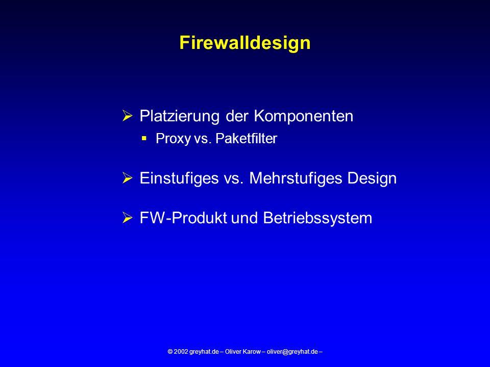 © 2002 greyhat.de – Oliver Karow – oliver@greyhat.de – BASIC RULES CLEAN-UP RULE  Steht am Ende des Regelwerks  Loggt alle Pakete für die keine gültige Regel gefunden wurde  Blockt alle Pakete für die keine gültige Regel gefunden wurde (ist in FW-Software hardgecodet)