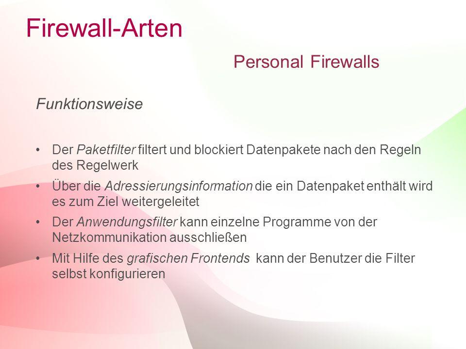 10 Firewall-Arten Personal Firewalls Funktionsweise Der Paketfilter filtert und blockiert Datenpakete nach den Regeln des Regelwerk Über die Adressierungsinformation die ein Datenpaket enthält wird es zum Ziel weitergeleitet Der Anwendungsfilter kann einzelne Programme von der Netzkommunikation ausschließen Mit Hilfe des grafischen Frontends kann der Benutzer die Filter selbst konfigurieren