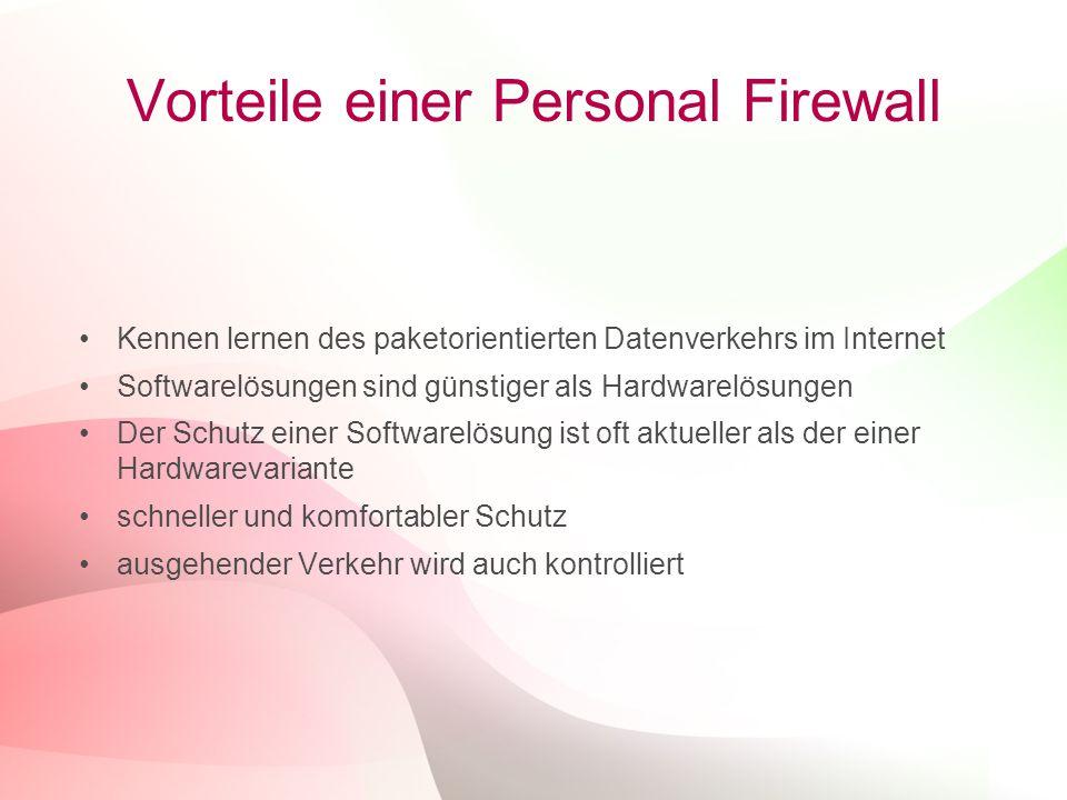 12 Vorteile einer Personal Firewall Kennen lernen des paketorientierten Datenverkehrs im Internet Softwarelösungen sind günstiger als Hardwarelösungen