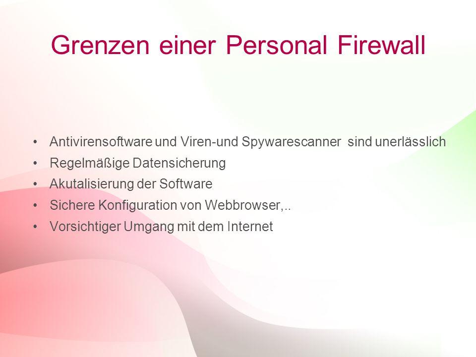 14 Grenzen einer Personal Firewall Antivirensoftware und Viren-und Spywarescanner sind unerlässlich Regelmäßige Datensicherung Akutalisierung der Software Sichere Konfiguration von Webbrowser,..