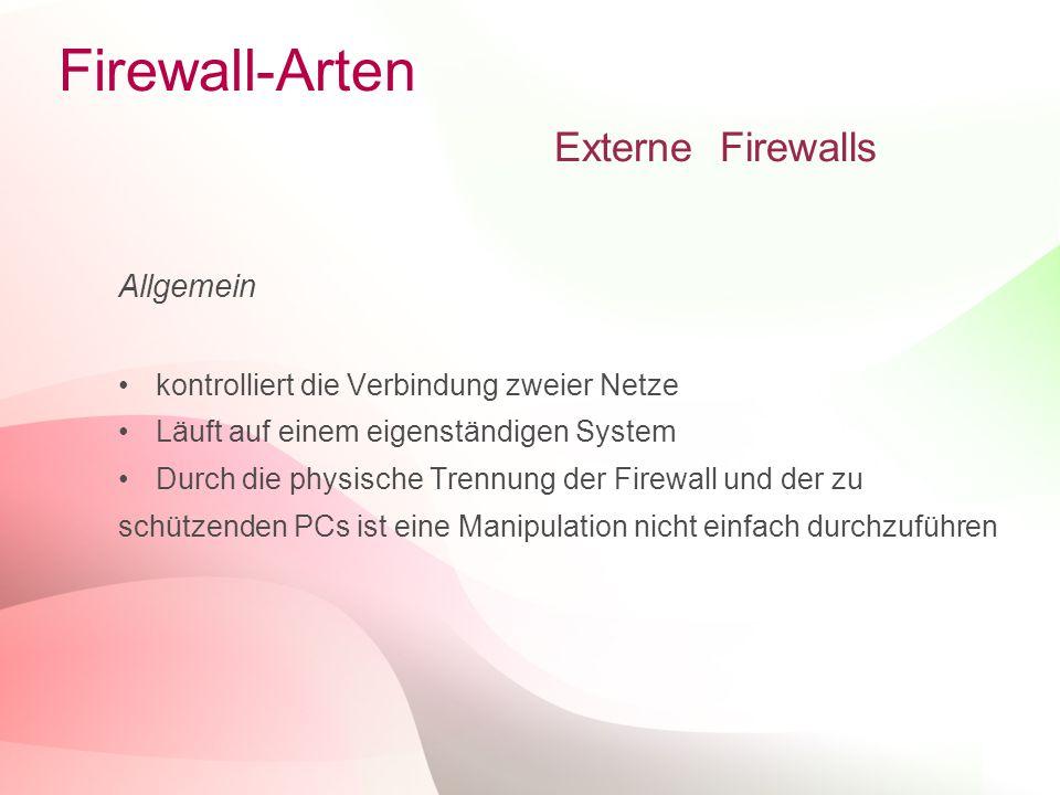 15 Firewall-Arten Externe Firewalls Allgemein kontrolliert die Verbindung zweier Netze Läuft auf einem eigenständigen System Durch die physische Trenn