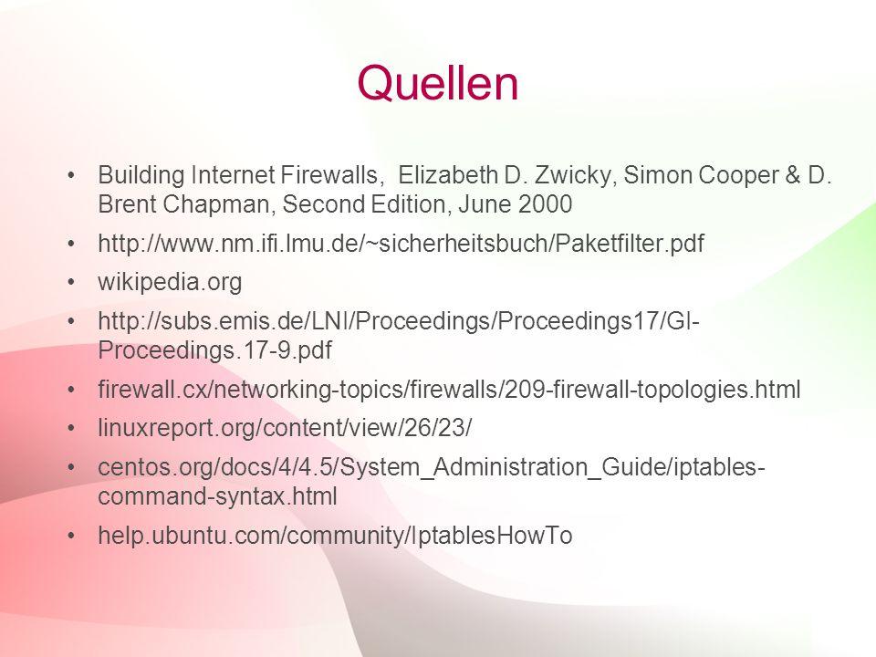 27 Quellen Building Internet Firewalls, Elizabeth D. Zwicky, Simon Cooper & D. Brent Chapman, Second Edition, June 2000 http://www.nm.ifi.lmu.de/~sich
