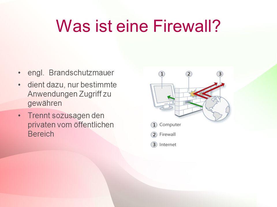 3 Was ist eine Firewall? engl. Brandschutzmauer dient dazu, nur bestimmte Anwendungen Zugriff zu gewähren Trennt sozusagen den privaten vom öffentlich