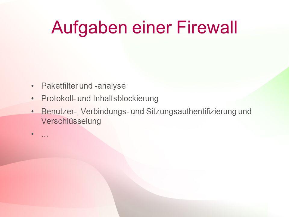 4 Aufgaben einer Firewall Paketfilter und -analyse Protokoll- und Inhaltsblockierung Benutzer-, Verbindungs- und Sitzungsauthentifizierung und Verschl