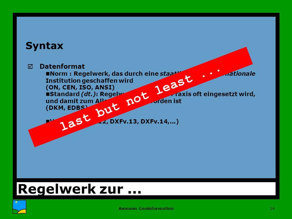 Axmann Geoinformation14 Syntax þDatenformat nNorm : Regelwerk, das durch eine staatliche oder internationale Institution geschaffen wird (ON, CEN, ISO, ANSI) nStandard (dt.): Regelwerk, das in der Praxis oft eingesetzt wird, und damit zum Allgemeingut geworden ist (DKM, EDBS) nVersion (DXFv.12, DXFv.13, DXFv.14,...) Regelwerk zur...