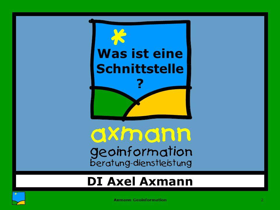 Axmann Geoinformation2 DI Axel Axmann Was ist eine Schnittstelle ?