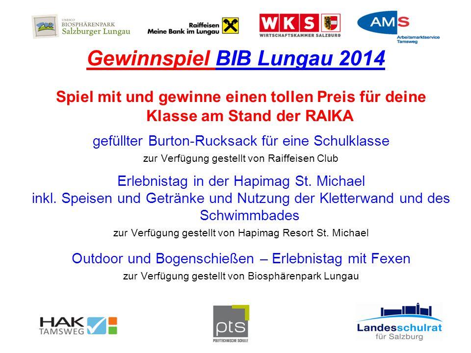 Gewinnspiel BIB Lungau 2014 Spiel mit und gewinne einen tollen Preis für deine Klasse am Stand der RAIKA gefüllter Burton-Rucksack für eine Schulklasse zur Verfügung gestellt von Raiffeisen Club Erlebnistag in der Hapimag St.