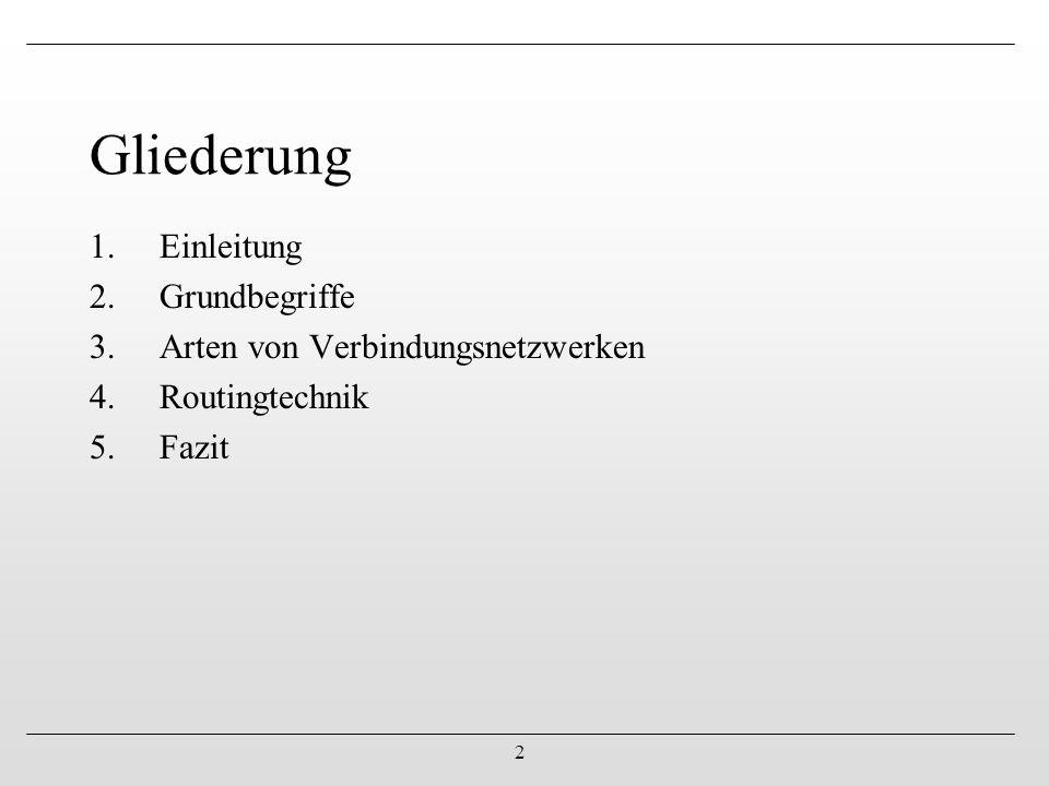2 1.Einleitung 2.Grundbegriffe 3.Arten von Verbindungsnetzwerken 4.Routingtechnik 5.Fazit Gliederung