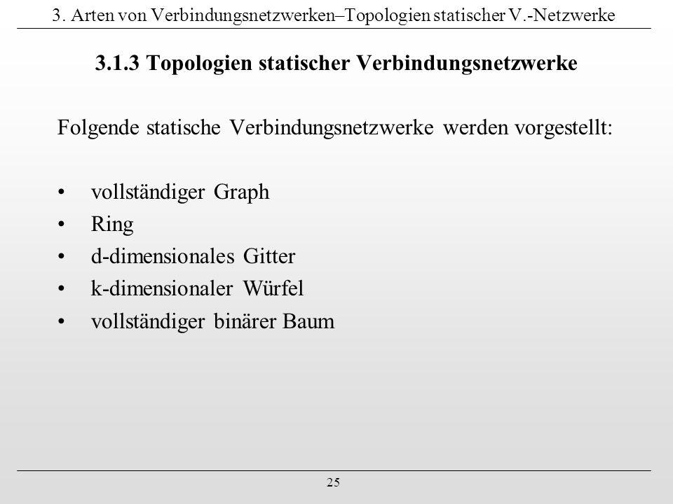 25 3. Arten von Verbindungsnetzwerken–Topologien statischer V.-Netzwerke 3.1.3 Topologien statischer Verbindungsnetzwerke Folgende statische Verbindun