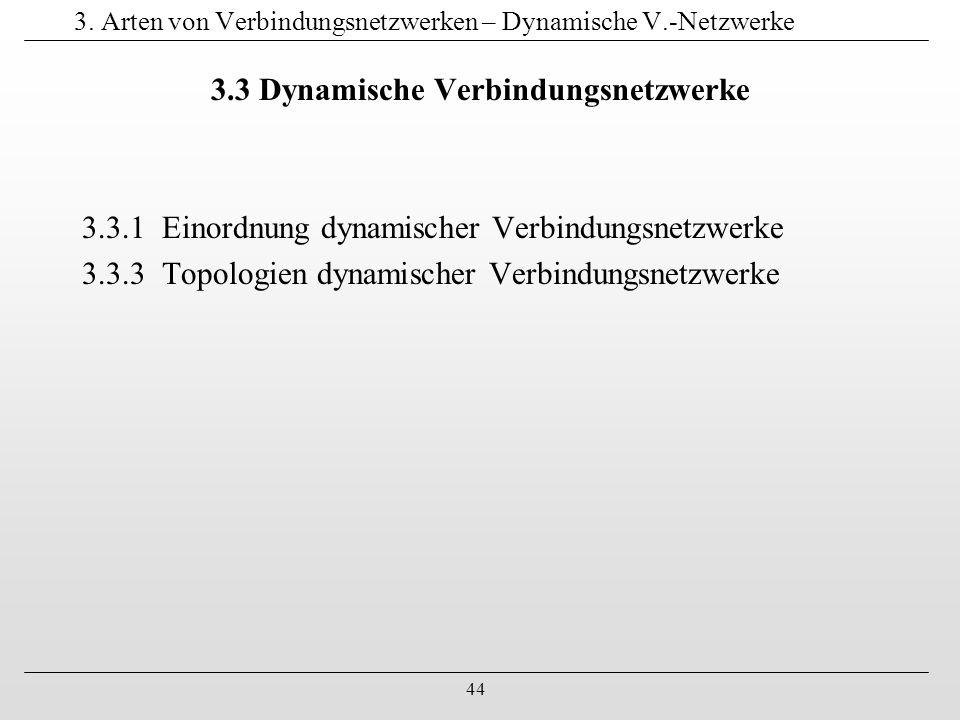 44 3. Arten von Verbindungsnetzwerken – Dynamische V.-Netzwerke 3.3 Dynamische Verbindungsnetzwerke 3.3.1 Einordnung dynamischer Verbindungsnetzwerke