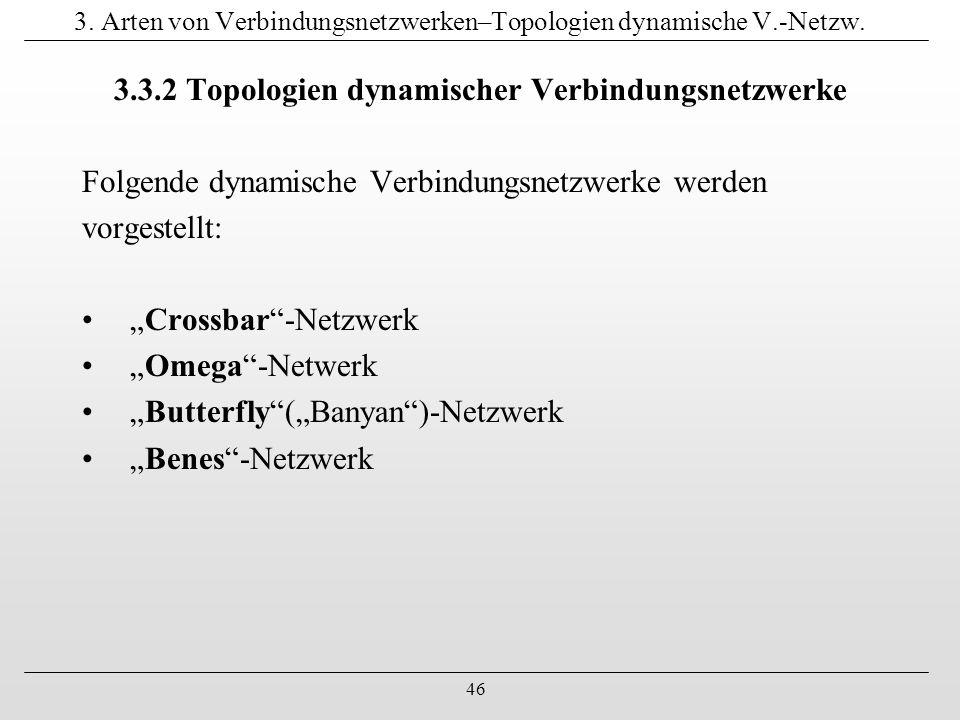 46 3. Arten von Verbindungsnetzwerken–Topologien dynamische V.-Netzw. 3.3.2 Topologien dynamischer Verbindungsnetzwerke Folgende dynamische Verbindung