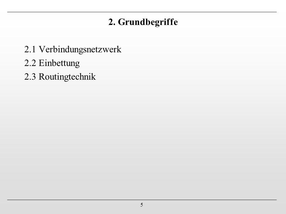 5 2. Grundbegriffe 2.1 Verbindungsnetzwerk 2.2 Einbettung 2.3 Routingtechnik