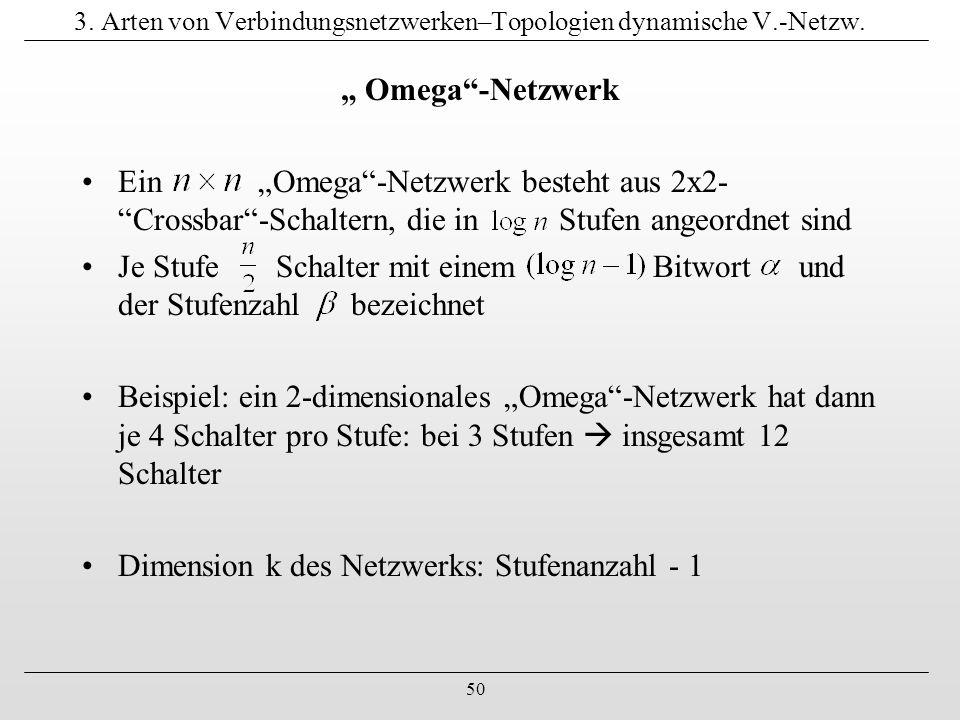 """50 3. Arten von Verbindungsnetzwerken–Topologien dynamische V.-Netzw. """" Omega""""-Netzwerk Ein """"Omega""""-Netzwerk besteht aus 2x2- """"Crossbar""""-Schaltern, di"""