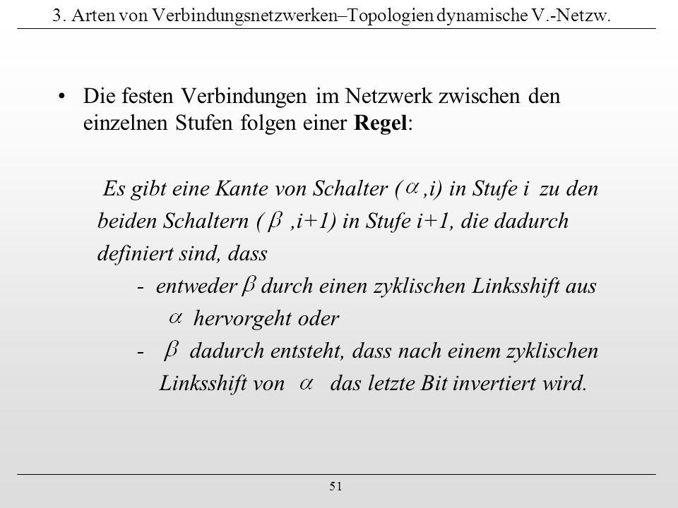 51 3. Arten von Verbindungsnetzwerken–Topologien dynamische V.-Netzw. Die festen Verbindungen im Netzwerk zwischen den einzelnen Stufen folgen einer R