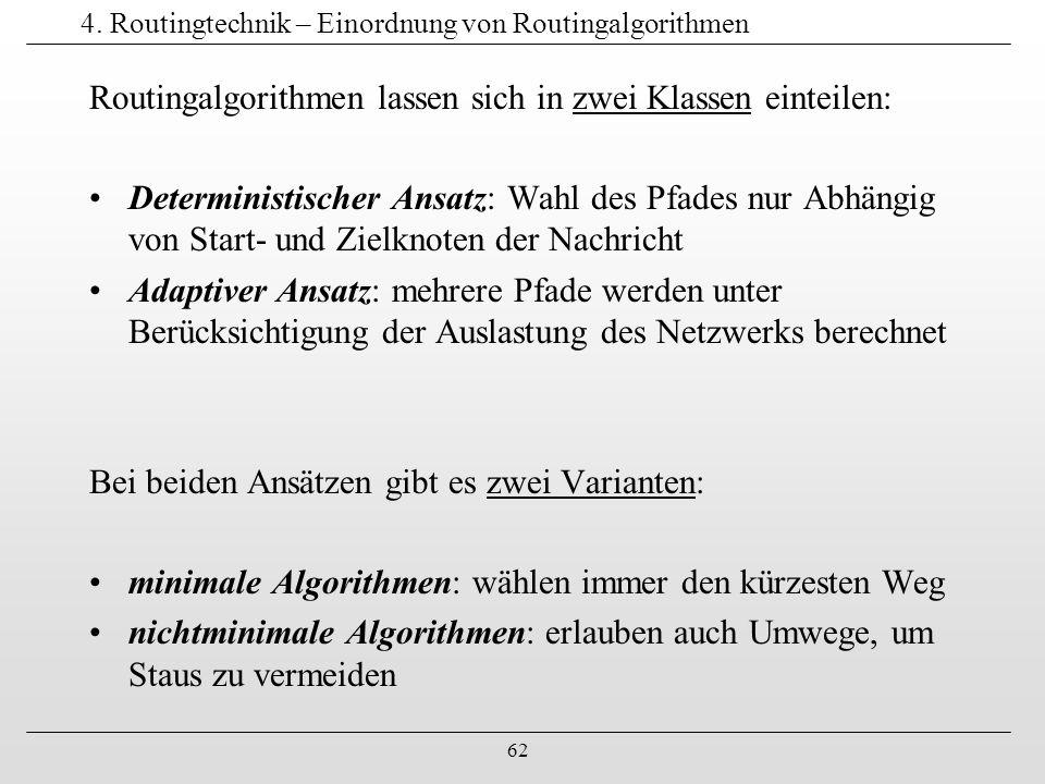 62 4. Routingtechnik – Einordnung von Routingalgorithmen Routingalgorithmen lassen sich in zwei Klassen einteilen: Deterministischer Ansatz: Wahl des
