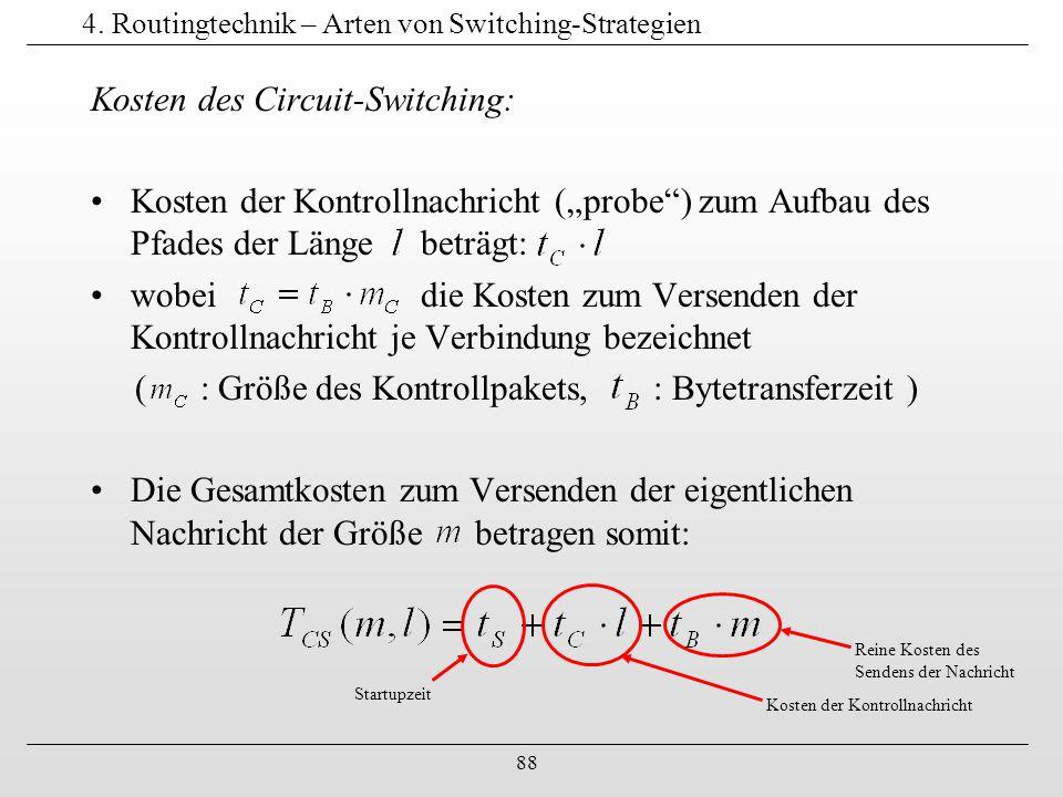 """88 4. Routingtechnik – Arten von Switching-Strategien Kosten des Circuit-Switching: Kosten der Kontrollnachricht (""""probe"""") zum Aufbau des Pfades der L"""