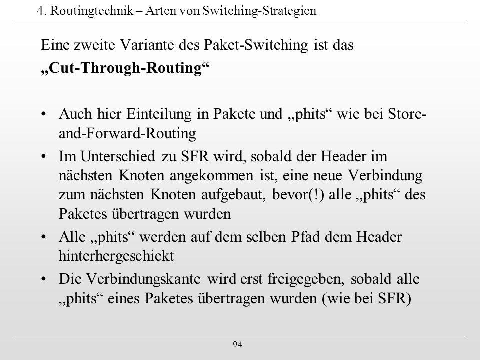 """94 4. Routingtechnik – Arten von Switching-Strategien Eine zweite Variante des Paket-Switching ist das """"Cut-Through-Routing"""" Auch hier Einteilung in P"""