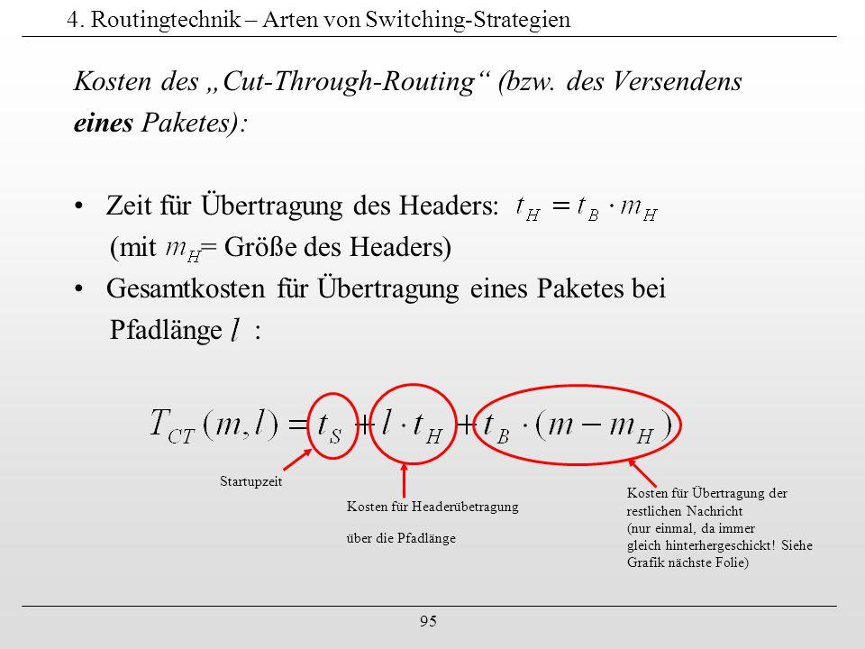 """95 4. Routingtechnik – Arten von Switching-Strategien Kosten des """"Cut-Through-Routing"""" (bzw. des Versendens eines Paketes): Zeit für Übertragung des H"""