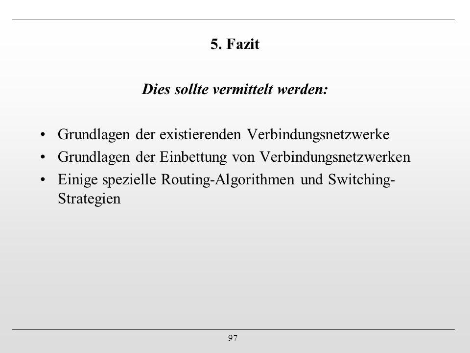 97 5. Fazit Dies sollte vermittelt werden: Grundlagen der existierenden Verbindungsnetzwerke Grundlagen der Einbettung von Verbindungsnetzwerken Einig