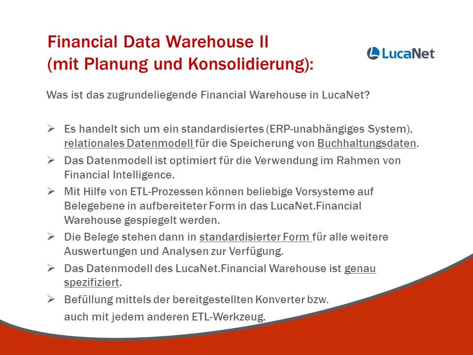 Financial Data Warehouse II (mit Planung und Konsolidierung): Was ist das zugrundeliegende Financial Warehouse in LucaNet?  Es handelt sich um ein st