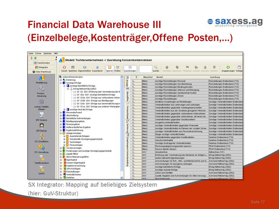 Seite 17 – Financial Data Warehouse III (Einzelbelege,Kostenträger,Offene Posten,…) SX Integrator: Mapping auf beliebiges Zielsystem (hier: GuV-Strukt