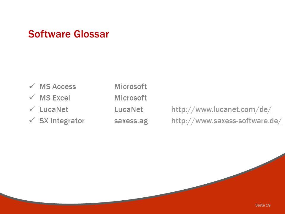 Software Glossar MS AccessMicrosoft MS ExcelMicrosoft LucaNetLucaNethttp://www.lucanet.com/de/http://www.lucanet.com/de/ SX Integratorsaxess.aghttp://