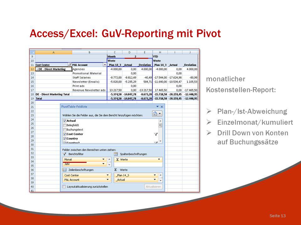 Access/Excel: GuV-Reporting mit Pivot monatlicher Kostenstellen-Report:  Plan-/Ist-Abweichung  Einzelmonat/kumuliert  Drill Down von Konten auf Buc