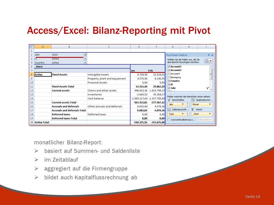 Access/Excel: Bilanz-Reporting mit Pivot monatlicher Bilanz-Report:  basiert auf Summen- und Saldenliste  im Zeitablauf  aggregiert auf die Firmeng