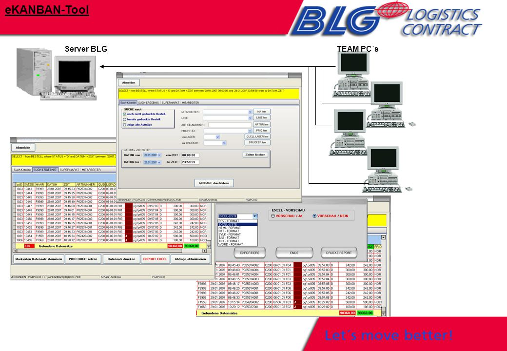 Server BLGTEAM PC´s eKANBAN-Tool