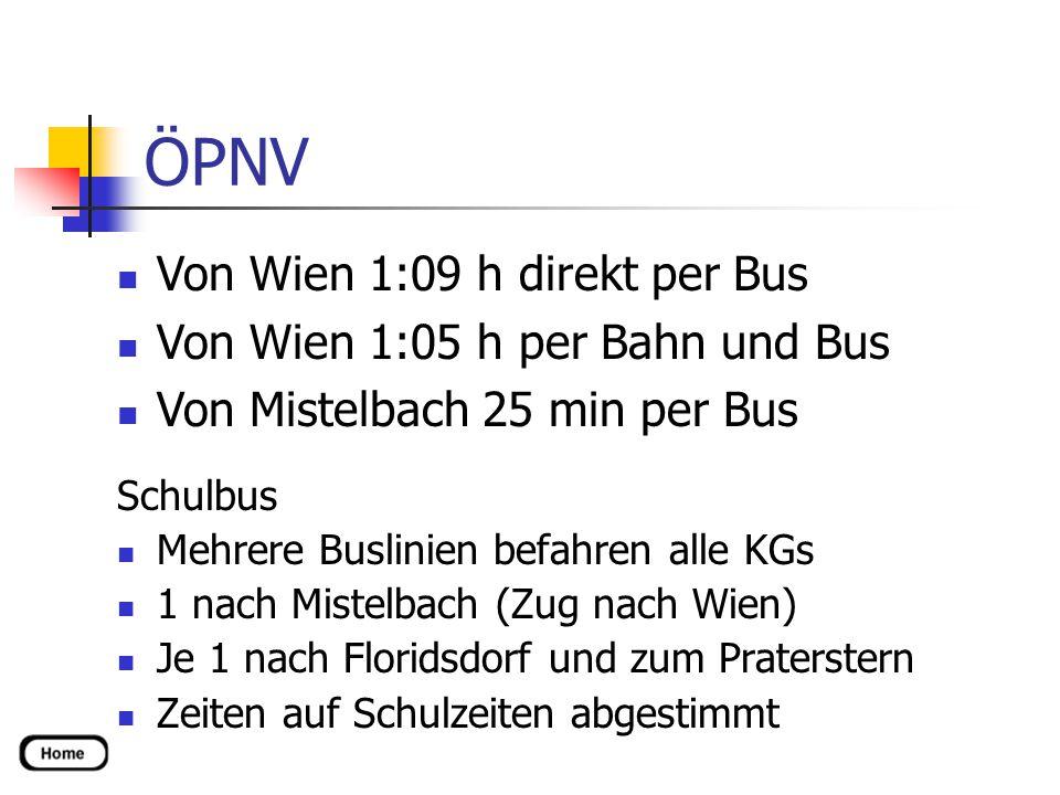 ÖPNV Schulbus Mehrere Buslinien befahren alle KGs 1 nach Mistelbach (Zug nach Wien) Je 1 nach Floridsdorf und zum Praterstern Zeiten auf Schulzeiten abgestimmt Von Wien 1:09 h direkt per Bus Von Wien 1:05 h per Bahn und Bus Von Mistelbach 25 min per Bus