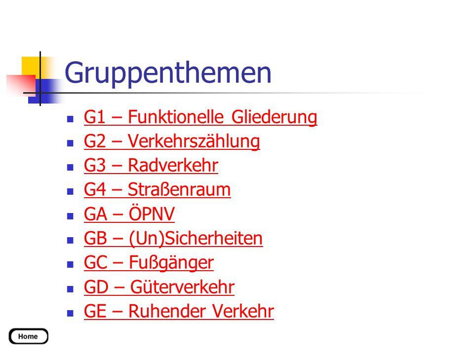 Gruppenthemen G1 – Funktionelle Gliederung G2 – Verkehrszählung G3 – Radverkehr G4 – Straßenraum GA – ÖPNV GB – (Un)Sicherheiten GC – Fußgänger GD – Güterverkehr GE – Ruhender Verkehr