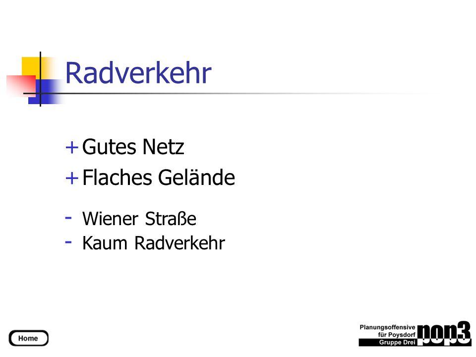 Radverkehr +Gutes Netz +Flaches Gelände - Wiener Straße - Kaum Radverkehr
