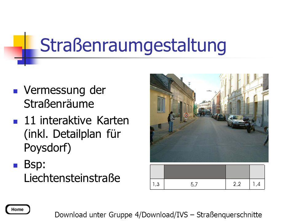 Straßenraumgestaltung Download unter Gruppe 4/Download/IVS – Straßenquerschnitte Vermessung der Straßenräume 11 interaktive Karten (inkl. Detailplan f