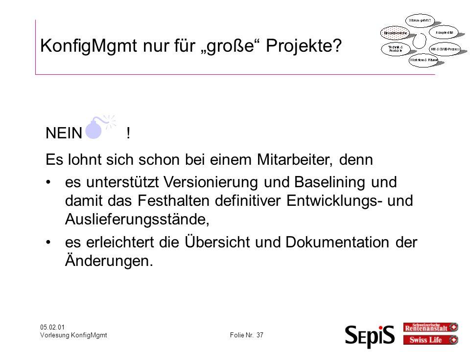 """05.02.01 Vorlesung KonfigMgmtFolie Nr.37 KonfigMgmt nur für """"große Projekte."""