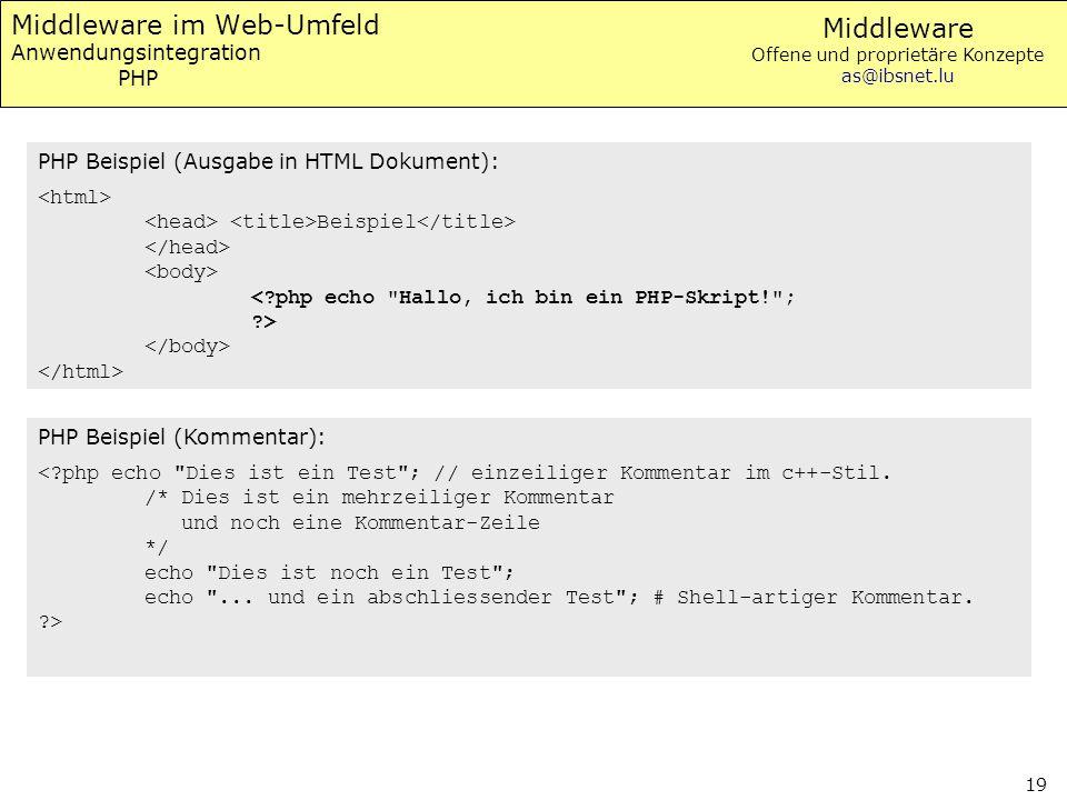 Middleware Offene und proprietäre Konzepte as@ibsnet.lu 19 Middleware im Web-Umfeld Anwendungsintegration PHP PHP Beispiel (Ausgabe in HTML Dokument):