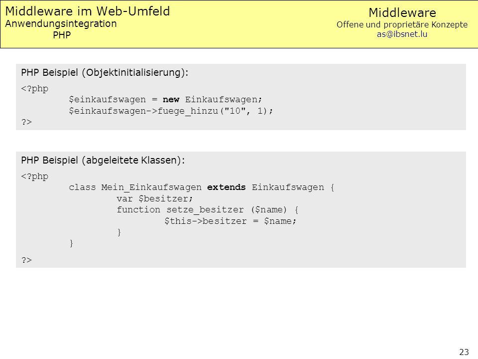 Middleware Offene und proprietäre Konzepte as@ibsnet.lu 23 Middleware im Web-Umfeld Anwendungsintegration PHP PHP Beispiel (Objektinitialisierung): fu