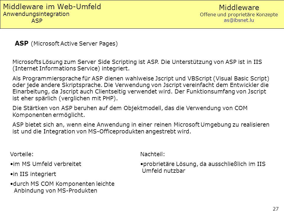 Middleware Offene und proprietäre Konzepte as@ibsnet.lu 27 Middleware im Web-Umfeld Anwendungsintegration ASP Microsofts Lösung zum Server Side Script
