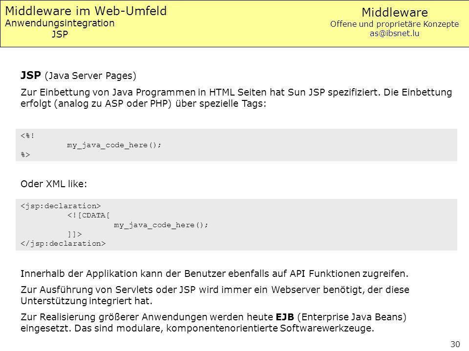Middleware Offene und proprietäre Konzepte as@ibsnet.lu 30 Middleware im Web-Umfeld Anwendungsintegration JSP JSP (Java Server Pages) Zur Einbettung v
