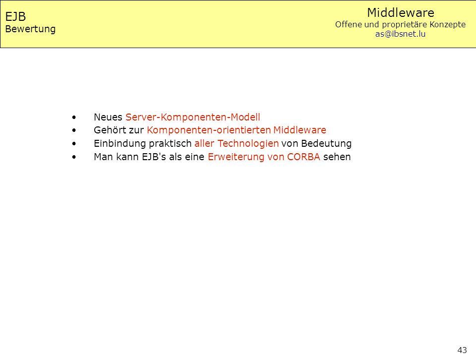Middleware Offene und proprietäre Konzepte as@ibsnet.lu 43 EJB Bewertung Neues Server-Komponenten-Modell Gehört zur Komponenten-orientierten Middlewar