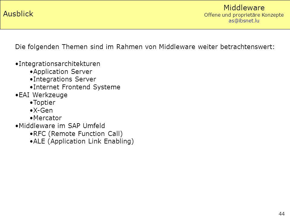 Middleware Offene und proprietäre Konzepte as@ibsnet.lu 44 Ausblick Integrationsarchitekturen Application Server Integrations Server Internet Frontend