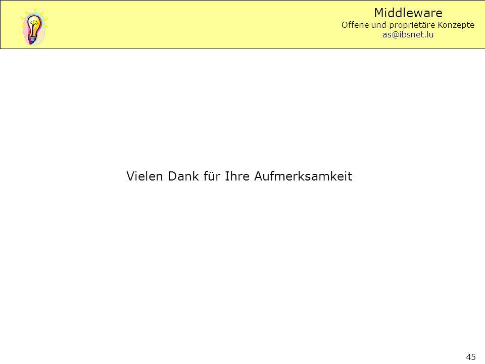 Middleware Offene und proprietäre Konzepte as@ibsnet.lu 45 Vielen Dank für Ihre Aufmerksamkeit