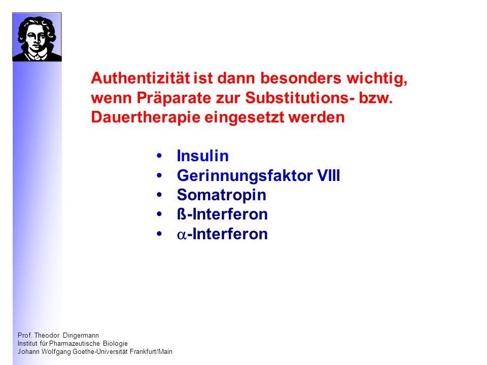 Prof. Theodor Dingermann Institut für Pharmazeutische Biologie Johann Wolfgang Goethe-Universität Frankfurt/Main Authentizität ist dann besonders wich